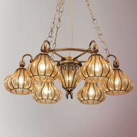 Carro hanging light with seven glass lampshades