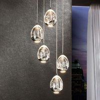 Rocio LED hanging light  five bulb  chrome  round