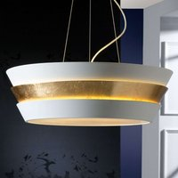 Noble hanging light Isis with gold white lampshade
