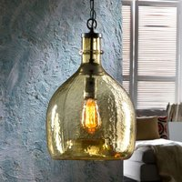 Laia glass hanging light in a retro look  amber