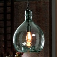 Rustic glass hanging light Laia  blue