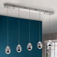 Rocio LED hanging light 5 bulb  chrome  bar
