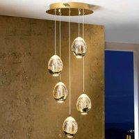 Rocio hanging lamp  5 bulb remote   gold  round
