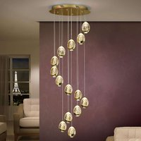 Rocio pendant light  14 bulb  remote control  gold