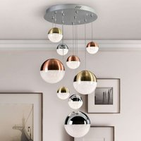 Sphere LED hanging light  multicoloured  9 bulb