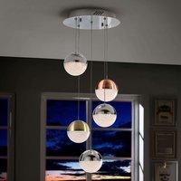 Sphere LED hanging light  multicoloured  5 bulb