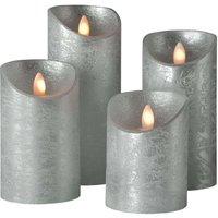 Shine LED candle  set of 4    7 5 cm silver