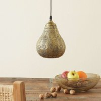 Oriental pendant lamp Jasmin in antique brass