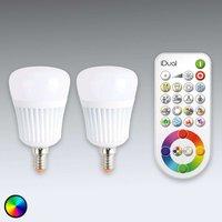 iDual E14 LED bulb with remote control  set of 2