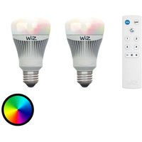 E27 WiZ LED bulb set of 2 with remote RGB   white