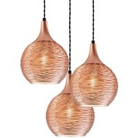 Fiona   three bulb pendant lamp  copper