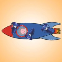 Rocket children s ceiling light in blue and red