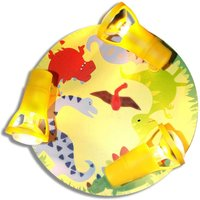 Colourful print Dinorex ceiling light in yellow
