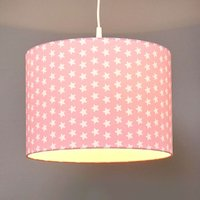 Little Stars fabric pendant light in pink
