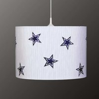 Striped Denim hanging light with stars