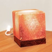 Cube salt crystal table lamp with a wooden base