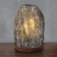 Rock Grey Line salt crystal table lamp