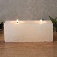 Twin Cube White Line tea light holder