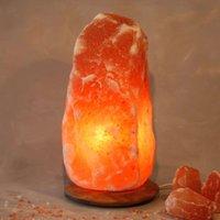 Rock lighted salt crystal with wooden base