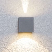 Silver LED outdoor wall light Jarno  cube form