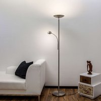 Malea   LED uplighter with reading arm  nickel
