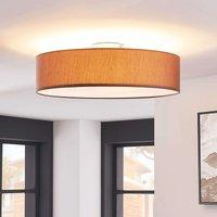 Light brown fabric ceiling light Sebatin  E27 LEDs
