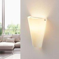Opal glass wall light Alia with an E14 LED