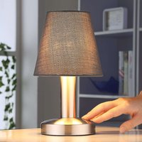 Grey bedside table lamp Hanno  fabric lampshade