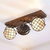 Three bulb LED ceiling lamp Tamin  rusty brown