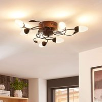 Brown  dimmable LED ceiling light Renato  six bulb