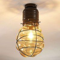 Ceiling light Maluka with and amber coloured glass