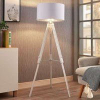 Tripod floor lamp Triac with wooden frame  white