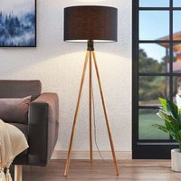 Claira tripod fabric floor lamp  round  black