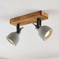 Lindby Mirka LED ceiling light  pine wood  2 bulb