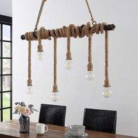 Lindby Hajo pendant light  six bulb  rope cord