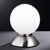 Pluto spherical table lamp in matt nickel