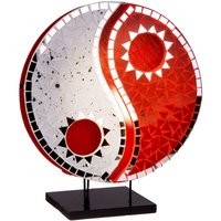Mirrored table lamp Ying Yang red white