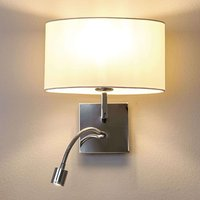 White fabric wall light Karla  LED reading light