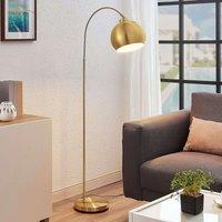 Moisia arc floor lamp in brass