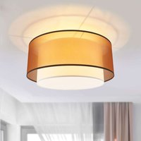 Modena round fabric ceiling light in brown