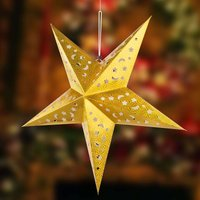 Gold coloured paper star X Mas 3D with LEDs