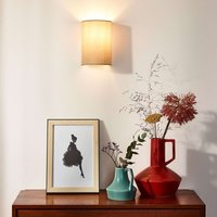 Fabric shade in taupe   Coral wall light