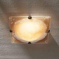 Glass Cilea ceiling lamp  square  amber  30 cm