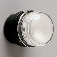 Fresnel   wall light with glass lens  black   IP44