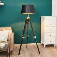 Black Ellinor floor lamp with tripod frame