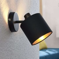 Vasilia fabric wall light black and gold  one bulb