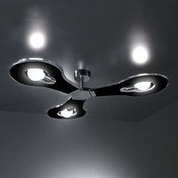 Innovative ceiling light Flat 3 bulb black