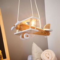 Aeroplane pendant light  white  wooden elements
