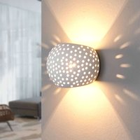 Spherical plaster wall lamp Jiru with hole pattern