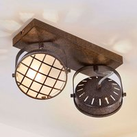 Rusty brown LED ceiling light Tamin  two bulb